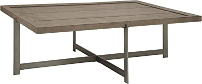 Benjara Plank Top Rectangular Cocktail Table with Straight Metal Legs, Gray