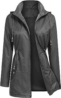 Women Waterproof Rain Jacket Hooded Mesh Lining Raincoat Active Outdoor Trench Jacket S-XXL