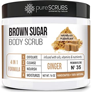 pureSCRUBS Premium Organic Brown Sugar GINGER FACE & BODY SCRUB Set - Large 16oz, Infused With Organic Essential Oils & Nu...