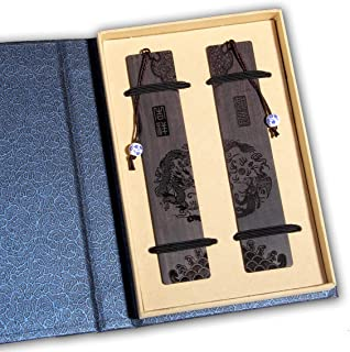 Handmade Wooden Bookmark Gift Box Set, Bookmark with Blue and White Porcelain Pendant, is A Unique Gift for Teachers, Stud...