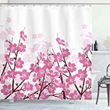Ambesonne Asian Decor Collection, Japanese Cherry Blossoms Sakura with Branches Spring Time Flower Garden Artsy Illustration, Polyester Fabric Bathroom Shower Curtain, 75 Inches Long, Pink White