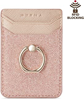 Card Holder for Back of Phone, Acrsikr RFID Blocking Glitter Cell Phone Credit Wallet with Ring Pocket Stick on iPhone