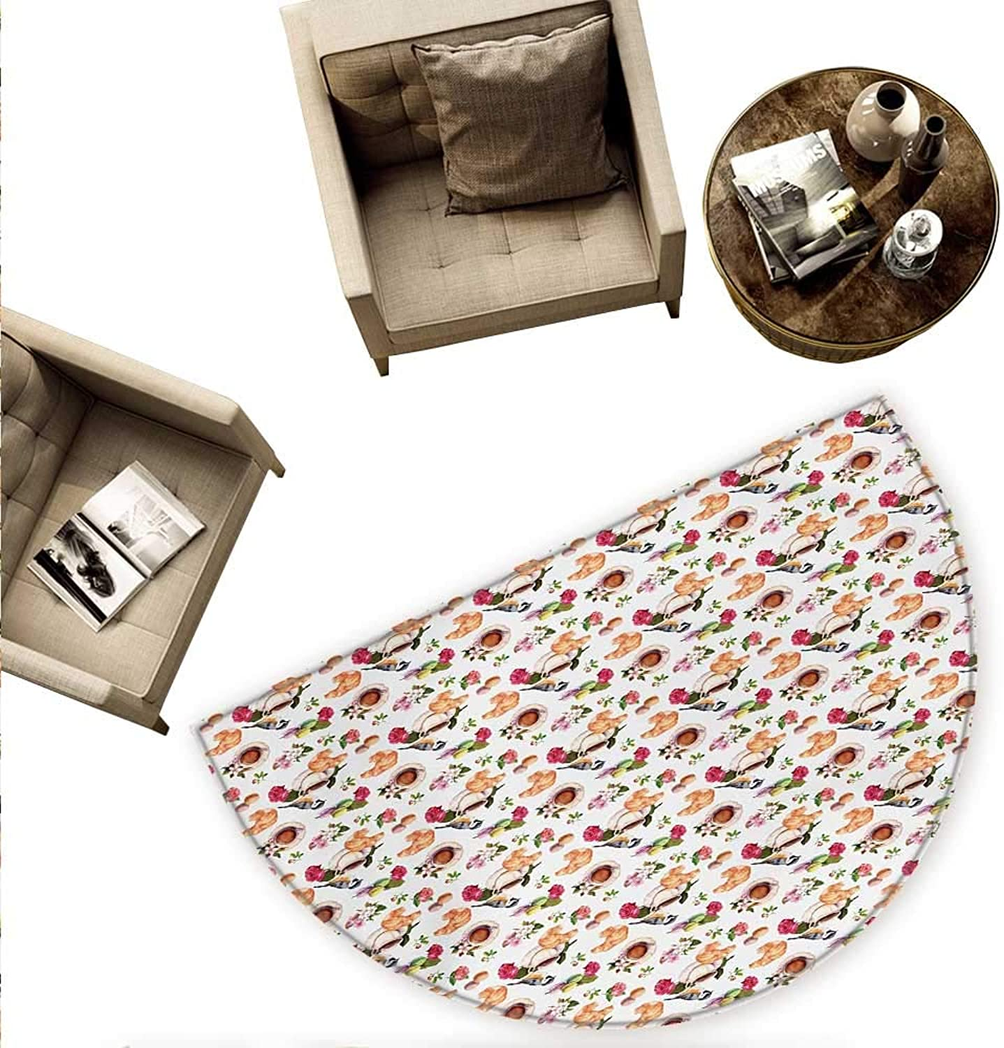 Vintage Semicircular Cushion Vintage Retro Mothers Day Themed Tea Time British Inspired Teapots and Flowers Entry Door Mat H 78.7  xD 118.1  Multicolor