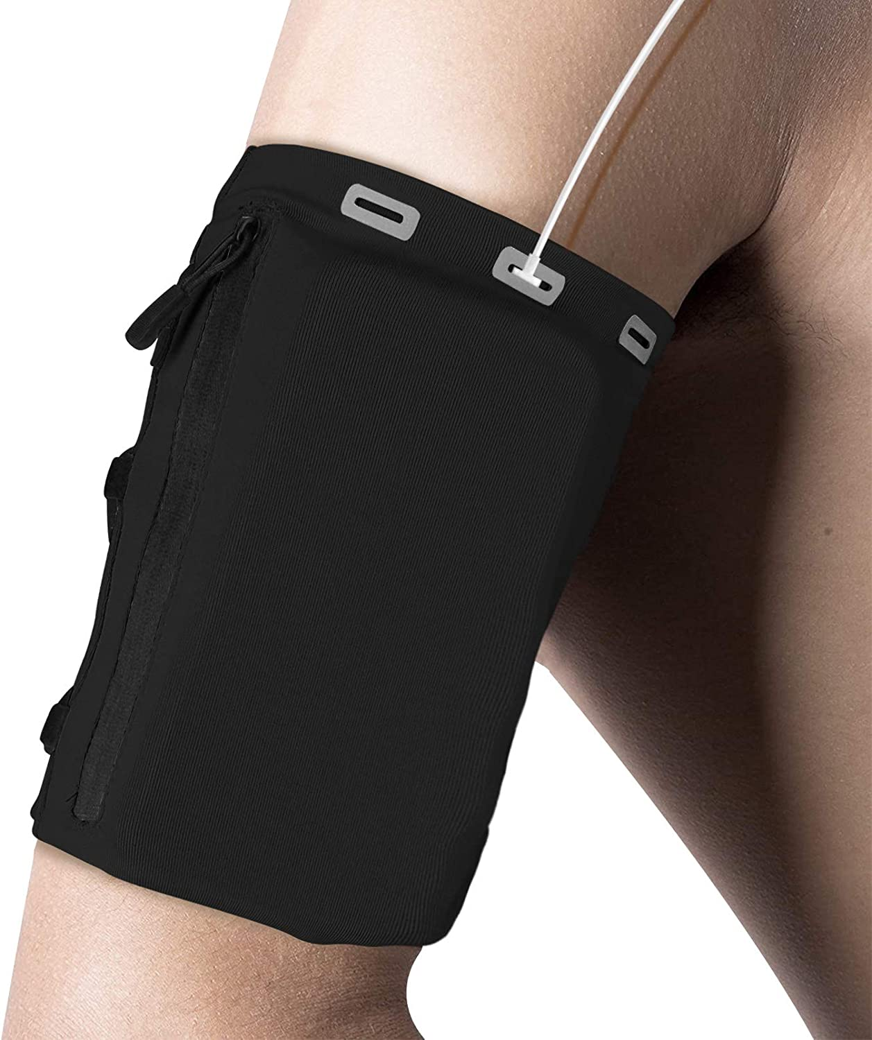 DONWELL Phone Armband Sleeve, Comfort and Adjustable Running Sports Arm Band Strap Holder Pouch Case for Exercise Workout Fit up to 7 inch Phones(Black)