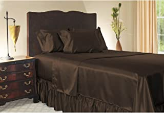 Sweet Dreams Silky Satin Sheet Set - King - Brown, Wrinkle Free and Stain Resistant Super Soft Luxury Satin Bed Sheets and Pillowcase Set with Extra Deep Pockets