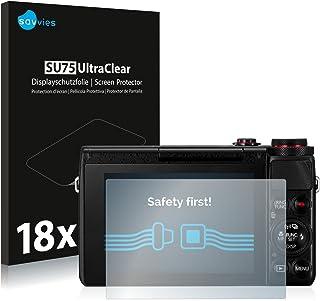 savvies Protector Pantalla Compatible con Canon PowerShot G7 X G7X (18 Unidades) Pelicula Ultra Transparente