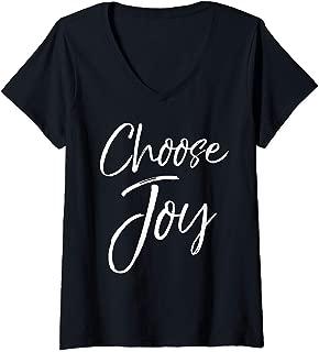 Womens Joyful Quote Gift for Women Joy Saying Cute Choose Joy V-Neck T-Shirt