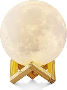 Lámpara de Luna en 3D, ALED LIGHT Luna con 15 cm de Diámetro Conexión USB Con 3 Colores a Elegir Luz de Ambiente Perfecta para Dormitorio Salón Café Bar