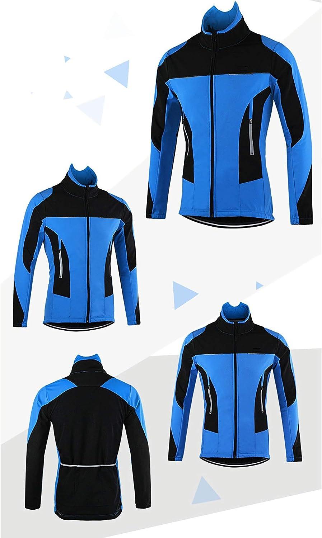 Haute Visibilit/é Trois Couches Composites Chaud Polaire Maillots De Cyclisme Vestes R/éfl/échissantes Coupe-Vent,Bleu,M MMSM Veste De Cyclisme dhiver Imperm/éable Hommes Femmes Manteau Thermique