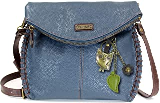 Chala Charming Crossbody Bag with Flap Top and Zipper Cross-Body Shoulder Purse (Owl Navy)