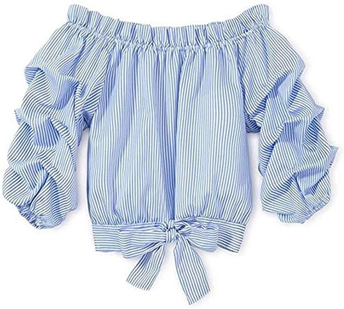 Mericiny 3-10Y Little Girls Max 87% OFF Kids Off Shoulder Striped Columbus Mall Tees Baby