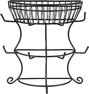 Gourmet Basics by Mikasa 5154681 French Countryside Metal Mug Tree with Storage Basket, 14.76 x 7.76 x 13.50, Antique Black