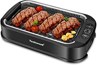 Techwood Smokeless Grill indoor Grill Power Electric Grill, Compact& Portable Non-stick BBQ Grill, Turbo Smoke Extractor Technology, LED Smart Control panel, Drip Tray& Removable Plate Easy Cleaning