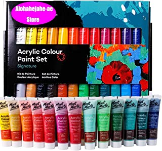 Alohahejahe-ae Acrylic Paint Set, Perfect for Canvas, Wood, Ceramic, Fabric, Non Toxic Vibrant Colors, Rich Pigments Lasting Quality for Beginners, Students Professional Artist(M-24 Colors)