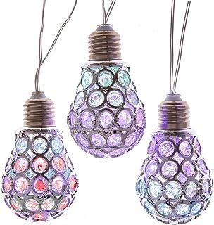 Kurt S. Adler Kurt Adler 20 Silver Lattice Bulb with RGB LED Novelty Light Set, Multi