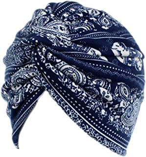 Elephant Printed Twist Pleated Hair Wrap Stretch Turban E234