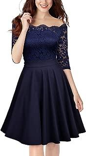 MISSMAY Women's Vintage Floral Lace Half Sleeve Off Shoulder Formal Swing Dress