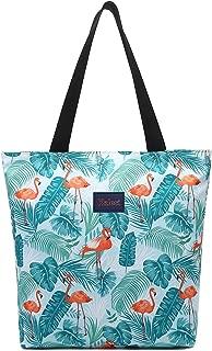 Natural Floral Flamingo Medium Tote Bag Foldable Waterproof Travel Shoulder Bag for Beach Gym School Sports Lightweight Carry-on Handbag with Upgraded Multi-Pockets (Flamingo-Sky Blue)
