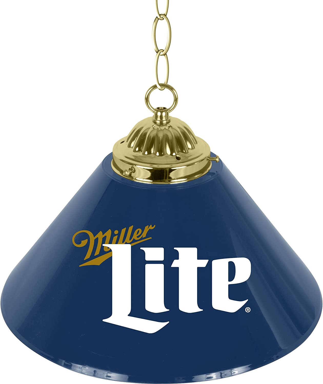 Trademark Gameroom Miller Lite Retro Logo Single Shade Chrome Bar Lamp  14 Inch