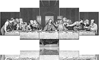 The Last Supper Pictures for Living Room Jesus by Leonardo Da Vinci Painings 5 Piece Canvas Wall Art Modern Artwork Home D...