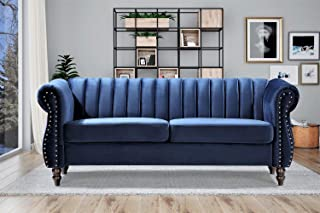 Container Furniture Direct Quinones Modern Chesterfield Channel Tufted Sofa with Nailhead Accents, 76.4, Dark Blue