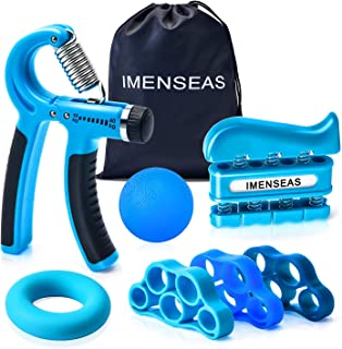 IMENSEAS Hand Grip Strengthener 7 Pack Adjustable Hand Gripper, Finger Stretcher Resistance Extensor Bands, Finger Exerciser, Grip Strength Ring & Stress Relief Ball