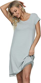 Mnemo Women's Summer Nightdress Jersery Casual Dresses Ladies' Striped Sleepshirt Short Sleeves