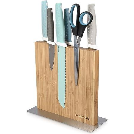 Navaris Bloc à Couteaux magnétique - Bloc aimanté Double Face en Bambou - Range Couteau de Cuisine Vide - Support Vertical avec Aimant