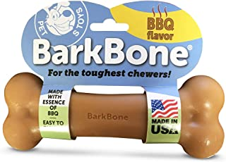 Pet Qwerks BBQ Flavor Infused BarkBone - Durable Toys for Aggressive Chewers, Tough Indestructible Extreme Power Chewer Bo...