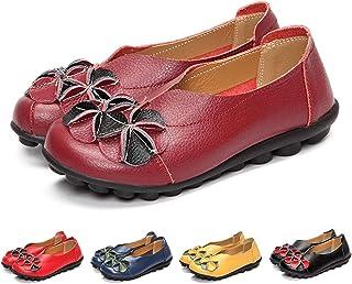 Mocasines para Mujer Primavera/Verano Vintage Flores Hechas a Mano Zapatos de Cuero Estilo Mocasines Cómodo Slip On Shoes Alpargatas Zapatos de Conducción Zapatos para Caminar