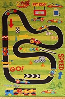 "23.5"" X 44"" Panel Race Day Race Track Cars Pit Stop Green Cotton Fabric Panel (1428-65170-793)"