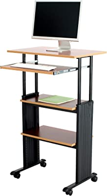 """Safco Products Muv 35-49""""H Stand-Up Desk Adjustable Height Computer Workstation with Keyboard Shelf, Cherry"""