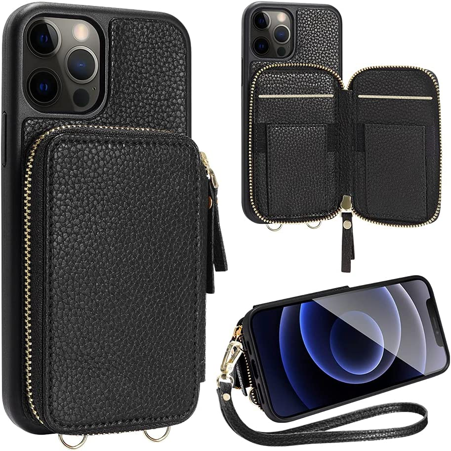 ZVE Wallet Case Compatible with iPhone 12 Pro/iPhone 12 6.1 inch, Zipper Case with Card Holder Slot Wrist Strap Leather Protective Purse Case for iPhone 12 and iPhone 12 Pro (2020) - Black