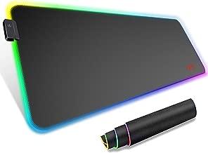 havit Tapis de Souris Gaming RGB 800 * 300 * 4mm XXL Très Grande Tapis Étendu de Clavier et Souris pour Ordinateurs de Bureau, Base Antidérapante en Caoutchouc, Noir (MP858)