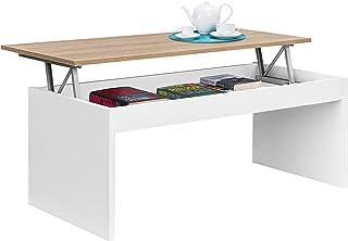 Habitdesign 0F1638A - Mesa de Centro Elevable Modelo Zenit Mesita Mueble Salon Comedor Acabado en Roble Canadian - Blanco...