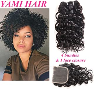YAMI Brazilian Water Wave 4 Bundles With Closure, Curly Remy Hair Extensions with Closure, Wet and Wavy Human Hair Bundles, Ocean Hair Extensions 50g (12 12 12 12 + 10 Closure)