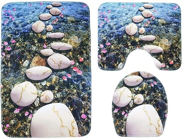 QIAO 3pcs Bathroom Carpet Set Bathroom Non Slip Set Bath Mat Profile Cover Toilet Seat Cover Carpet For Toilet River Pebble Pattern Size 44x75cm 39x44cm 40x38cm