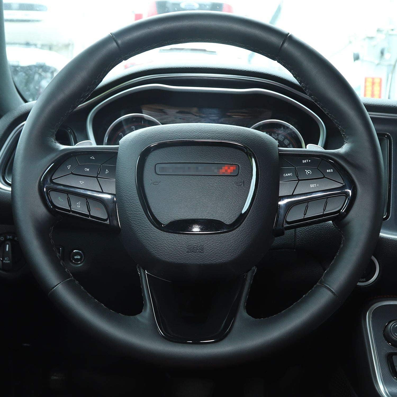 ABS Red//Black Fiber 4pcs Voodonala Steering Wheel Trim for 2014-2020 Dodge Durango for Jeep Grand Cherokee SRT8 for 2015-2020 Dodge Challenger Charger