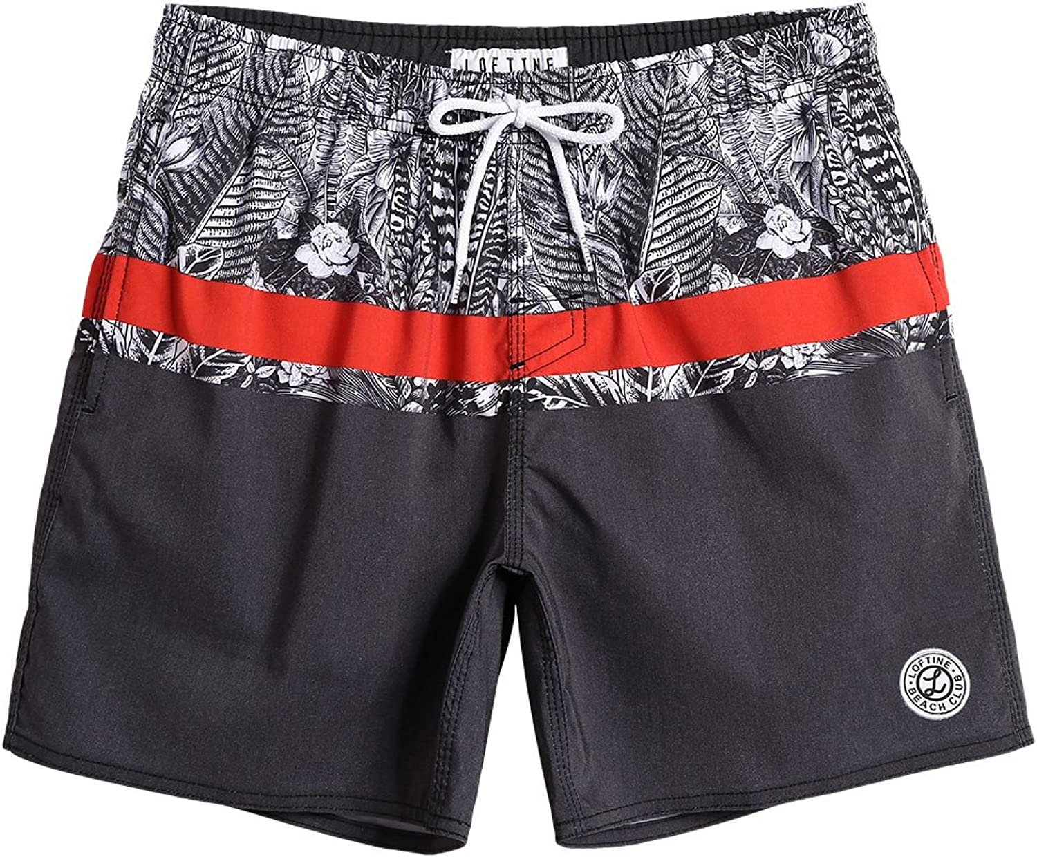 Loftine Mens Tropical Swim Trunks Stretchable Quick Dry Beach Shorts Watersports