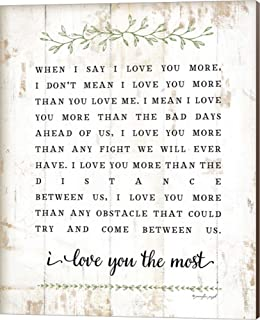 I Love You More by Jennifer Pugh Canvas Art Wall Picture, Museum Wrapped with Nutmeg Sides, 16 x 20 inches