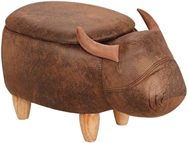 Homegear Animal Kids/Nursery Ride-On Storage Ottoman/Footrest Stool - Brown Buffalo
