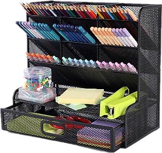 Multi-Functional Pen holder Mesh Desk Organizer, 9 Compartments With 1 Storage Rack & Drawer Pen Organizer, Desktop Storag...
