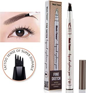 Music Flower liquid eyebrow pencil with four tips brow tattoo pen (Brown)