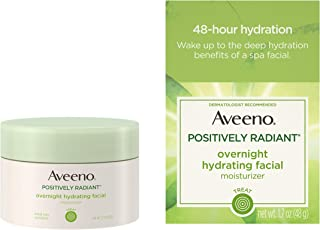 Aveeno Positively Radiant Overnight Hydrating Facial Moisturizer with Soy Extract and Hyaluronic Acid, Oil-Free and Non-Co...