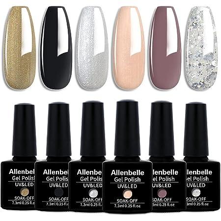 Allenbelle Smalto Semipermante Per Unghie Kit In Gel Uv Led Smalti Semipermanenti Per Unghie Nail Polish UV LED Gel Unghie(Kit di 6 pcs 7.3ML/pc) (008)