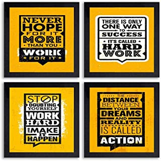 PnF® Set of 4 Motivational QUOTES-018-(28x28inch,Synthetic,Multicolour)