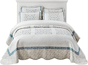 Embroidered Quilted Bedspread, Cotton Coverlet for All Season, Summer Quilt Bedding Set, Multi-use Throw 250 * 270cm