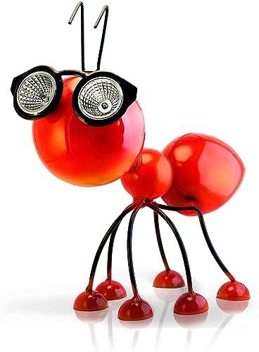 Décoration de jardin à énergie solaire, statuette en métal en forme de fourmi rouge avec lumières LED, idée de cour, ...