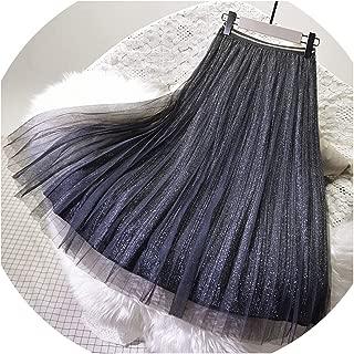 church123 Faldas de Malla elásticas de Cintura Alta para Mujer, Faldas de Primavera y Verano, Falda Plisada con Detalles de Purpurina