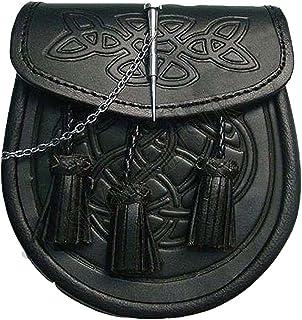 Tasche für Schottenrock mit keltischem Reliefmuster, Druckknopf Verschluss und Kette, Leder, Schwarz
